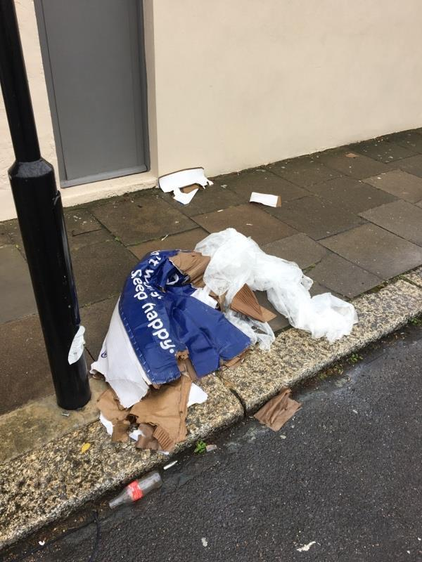 Corner of Glenwood Road and Conway Rd, N15. Large pieces of cardboard and plastic dumped on pavement. Also containers of engine oil dumped at base of tree and a large glass container.-52 Glenwood Rd, Harringay, London N15 3JU, UK