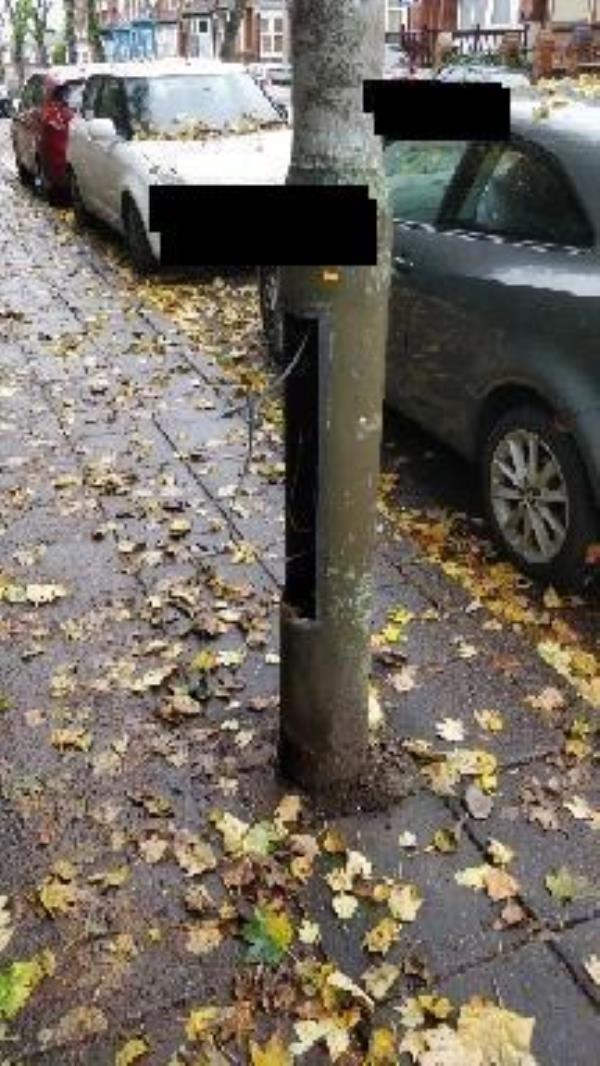 Cable hanging out of street light -161 Hinckley Road, Leicester, LE3 0TF