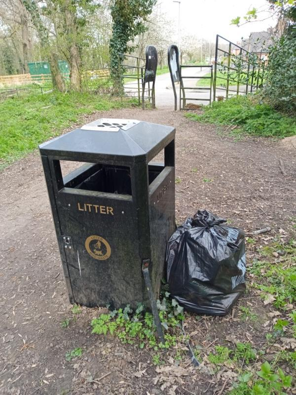 One bag of fly tipping items left near litter bin at Wyatt Close entrance. Collected by volunteer.-41 Wyatt Close, Leicester, LE3 1HW
