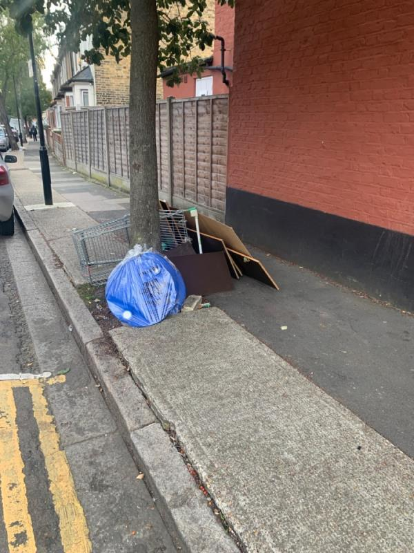 More crap and the Shopping trolley is still there-2 Langdon Road, East Ham, E6 2QB