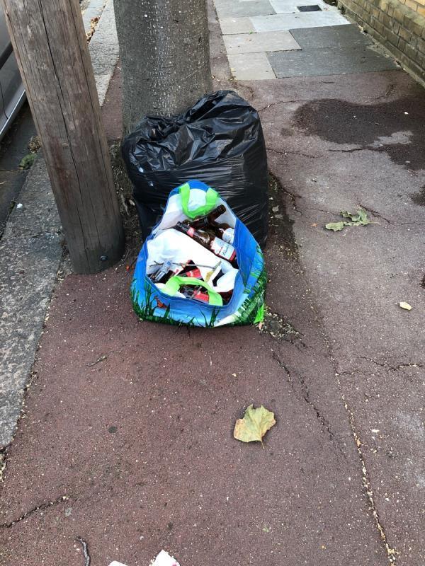 Black bin bag and bag of life full of glass bottles-40 Credon Rd, Plaistow, London E13 9BJ, UK