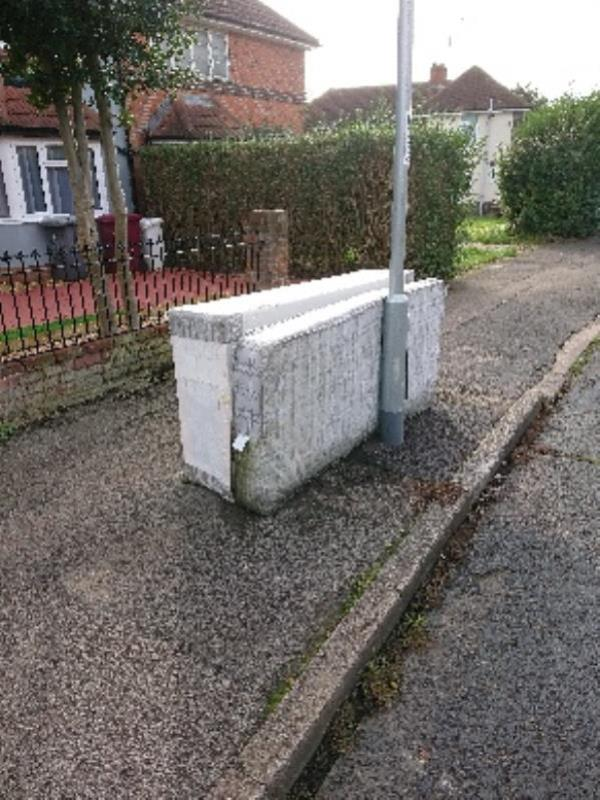 Fly tipping on path -90 Dawlish Road, Reading, RG2 7SE