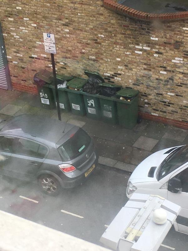 Three black bags because bins where left overflowing, if bins are left overflowing there will be fly tipping ????-1 Waterloo road side of Coffee Hut E6 1AP