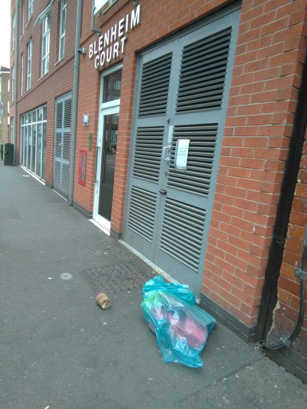 Domestic fly-tipping outside Blenheim Court, Church Street-2 Church Street, Leicester, LE1 1LB