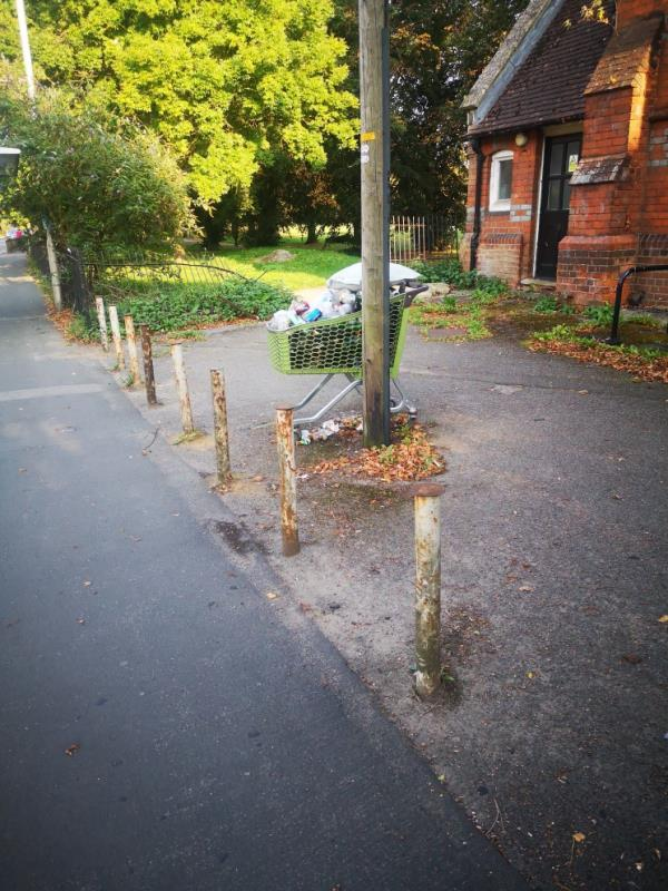 trolley full of rubbish has been at edge of Palmer park for a while-Park Community Hall London Road, Reading, RG1 3PA