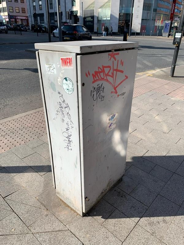 Tagged on electric box outside Tegtat-42 Humberstone Gate, Leicester, LE1 3PJ