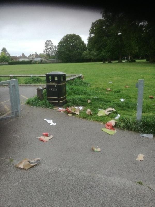 these bins are unsuitable because foxes raid them. btw a member of your staff has been on the phone  by the pavilion for over half an hour.-117 Sycamore Road, Farnborough, GU14 6RE