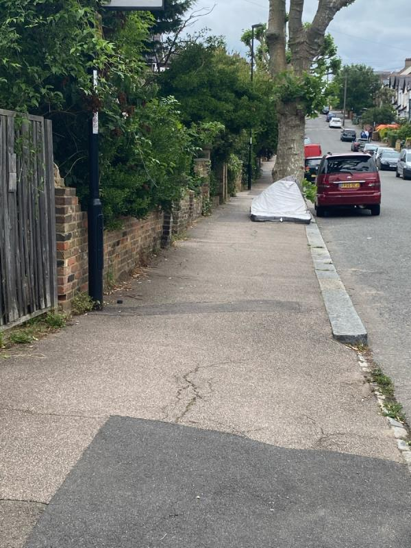 Mattress dumped at side of road-8 Lowther Hill, London, SE23 1PY