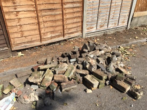After completing a garden tidy up a builder/ gardener left a heap of bricks and rubble in the street.  The work was done in 8 Clarence rd N15 - the rubble is dumped in 62 Falmer rd N155BA  Time / date Sunday 11th August 09-12 am  The builder was driving a red van BETA Construction  Didn't see number plate  -29 Falmer Road, London, N15 5BA