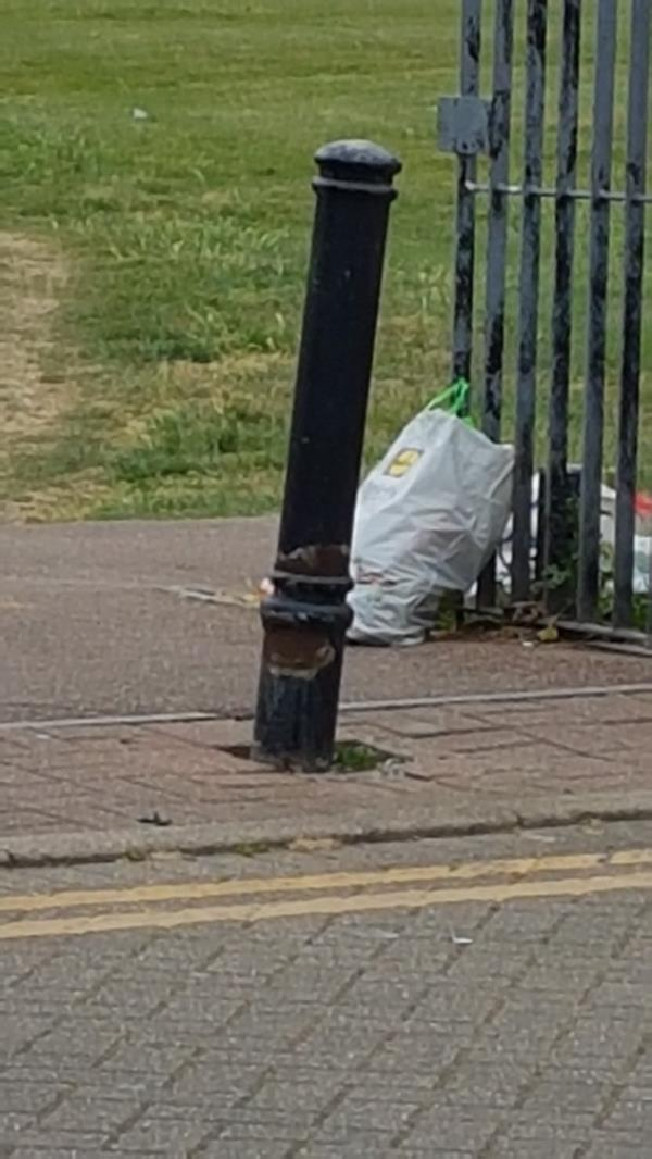 shopping bags filled with rubbish left at park entrance on Adrewes gardens. Birds and other things are scattering waste everywhere. eyesore.-18 Andrewes Gardens, London, E6 5TG