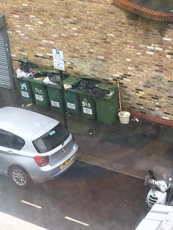 Boxes collected now mop and bucket by bins. This is because the overflow in the bins is never taken so people fly tip. Maybe it's time for a countless camera to catch these people-38 Plashet Grove, London, E6 1AD
