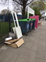 Large fly tip, gas canister amongst items image 2-Custom House Library Prince Regent Lane, Canning Town, E16 3JJ