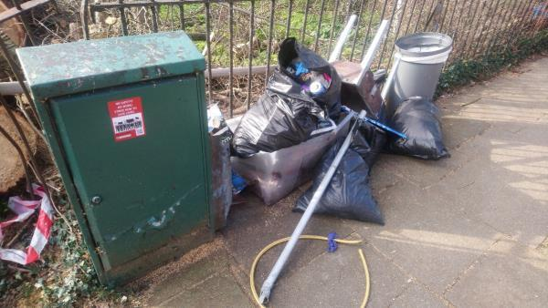 Fly-tipping on Downderry Rd where Downham Woodland Walk crosses it. -54 Downderry Road, Bromley, BR1 5QF