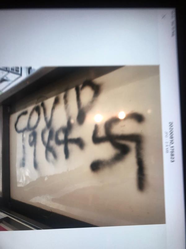 Nazi swastika on bus shleter-189 Southfield Road, London, W4 5LB