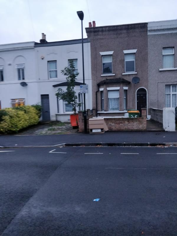 Flytipping on the pavement beside 25 Buxton Road E15-27 Buxton Road, London, E15 1QU