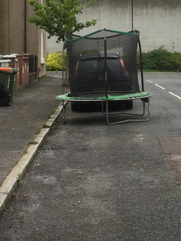 Trampoline outside 21-15 Tate Road, North Woolwich, E16 2HJ