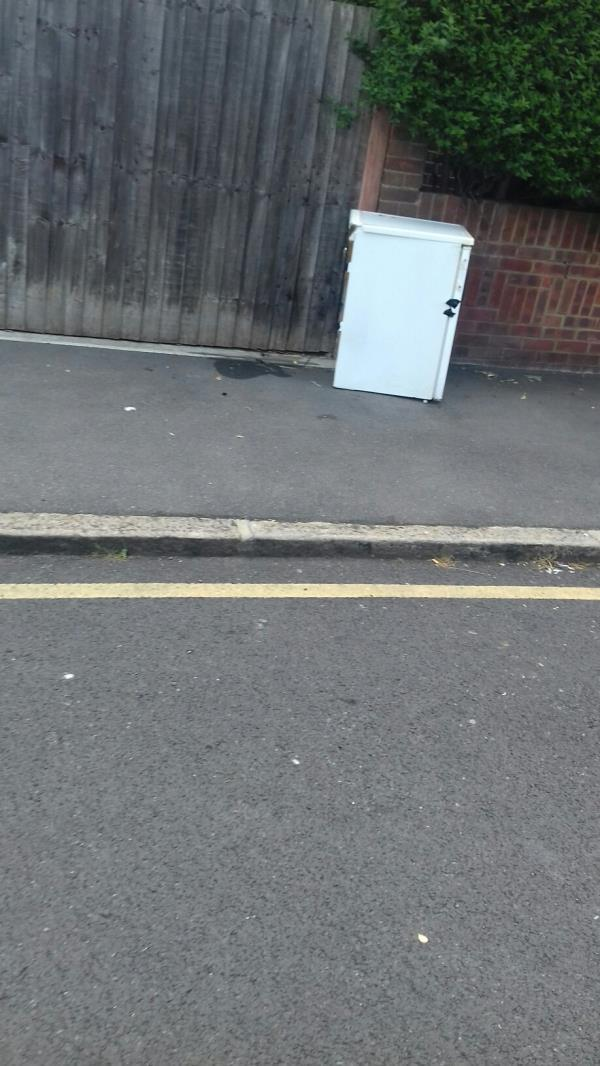 A small fridge dumped near 1 Mafeking Road E16 -1 Mafeking Road, Canning Town, E16 4NS