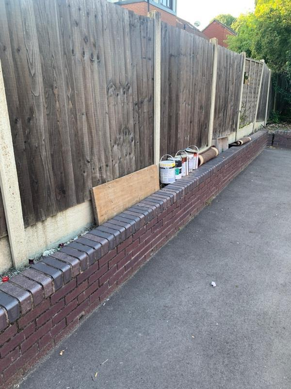 Fly tipped paint pots and rugs on Mavis Walk, north of Remington Road-11 Remington Road, London, E6 5SW