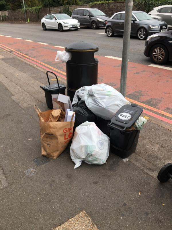 Rubbish dumped on pavement starting to overflow into the road -225a London Road, Reading, RG1 3NY