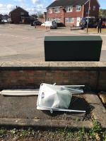 Two lots of fly tipping AGAIN in the Aberdale pub car park. Pile of bikes at the back of the carpark and a blind and dustbin near the charity bins at the front of the carpark. 1 green bag of litter left near the council bag by me. -Aberdale Inn, 111 Shackerdale Road, Leicester, LE2 6HT