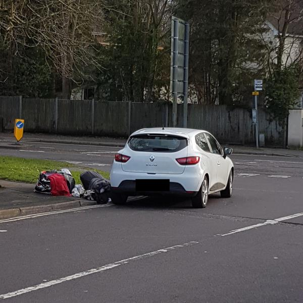 A large number of bags were strewn on the ground next to a car that was stopped on the double yellow lines. Something was thrown from the passenger side window of the car into the garden of the property closest to the car.-8 Abbey Way, Farnborough, GU14 7DA