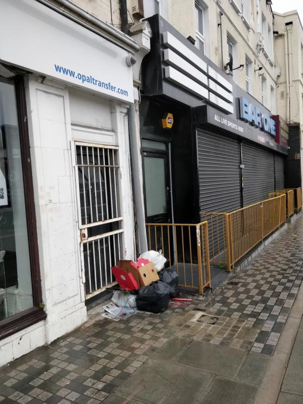 Black bags of rubbish beside 3 Leytonstone Road E15-3 Leytonstone Road, London, E15 1JA