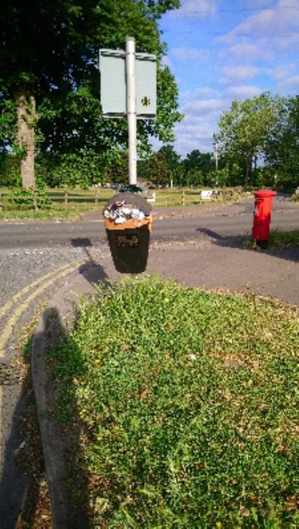 Overflowing litter bin -30 Liebenrood Road, Reading, RG30 2DS