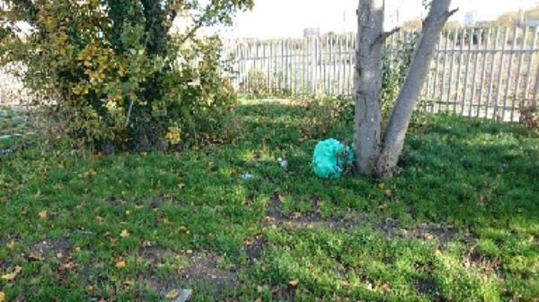 Rubbish bags left by traveller encampment, plus various other bits of rubbish including a large plastic water container. -Key House Cow Lane, Reading, RG1 8NA