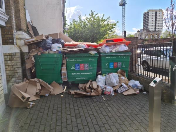 Recycling bins overflowing. This happens every week, when will you give us more bins??-16a Manbey Park Road, London, E15 1EY
