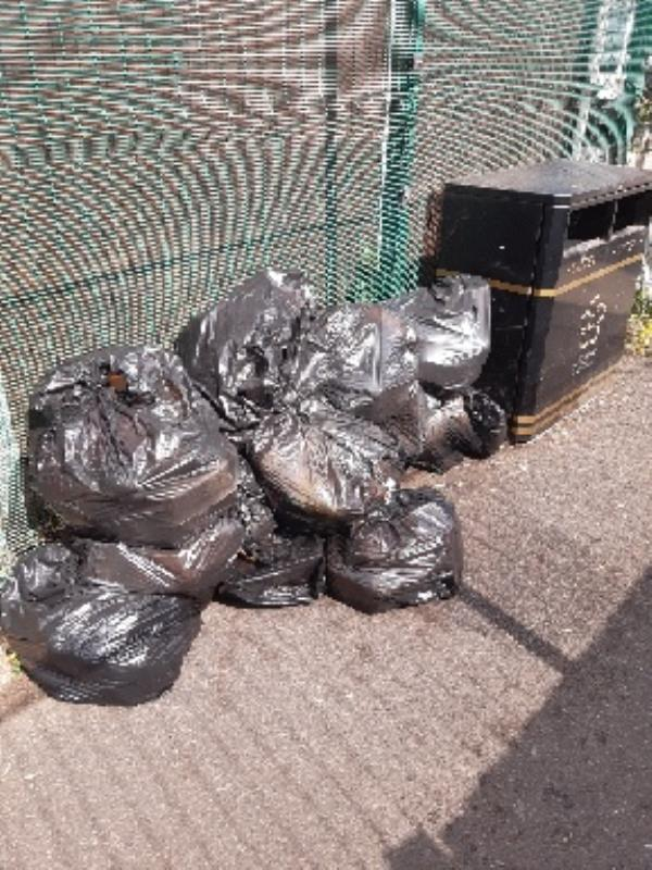 fly tipping at entrance to Cravens recreational ground near Brackley Close -1 Brackley Close, Leicester, LE4 9BH