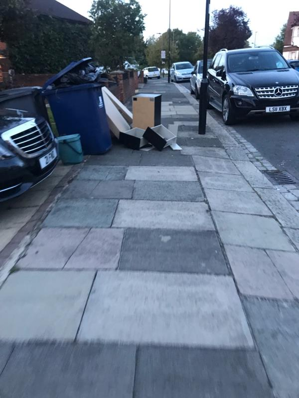 Resident of 4 Hedgerley Gardens has dumped furniture outside his address -12 Hedgerley Gardens, London, UB6 9NT