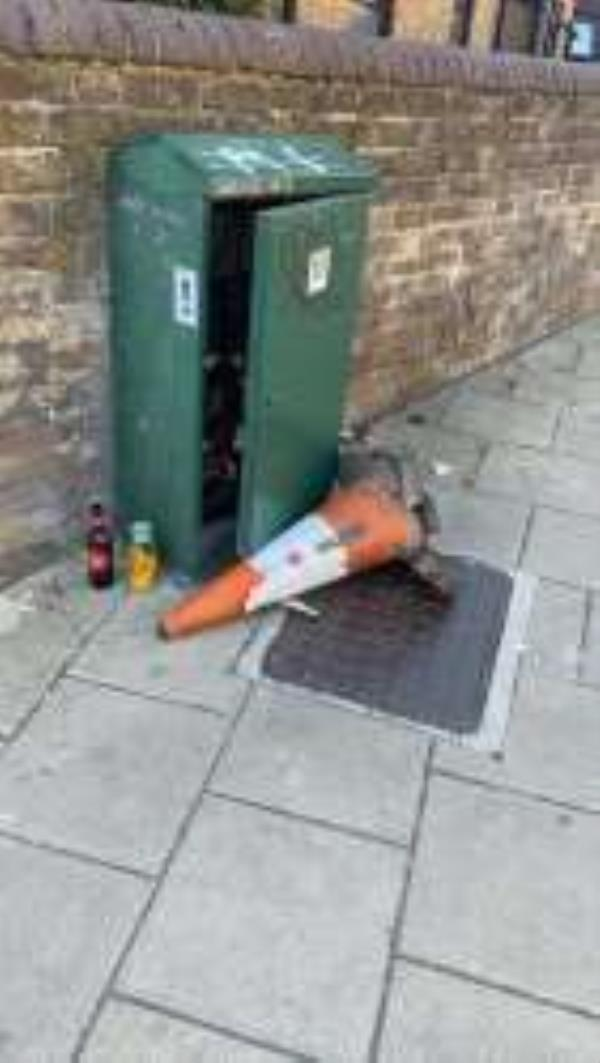 Please clear a dumped cone. Reported via Fix My Street-129 Drakefell Road, Brockley, SE4 2DT