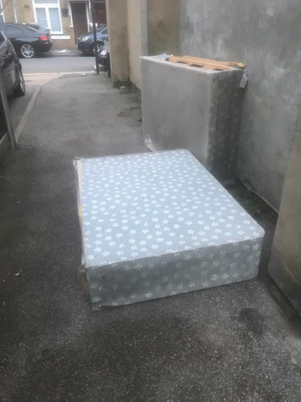 Dirty bed dumped-54A Tower Hamlets Rd, London E7 9BZ, UK