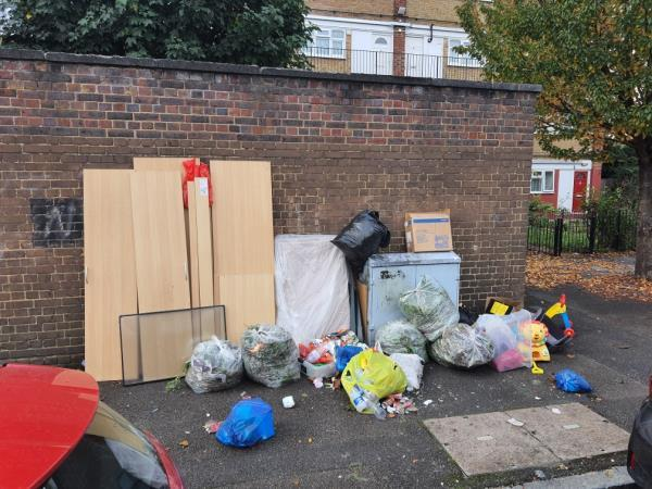 Gardening waste, toys, household itrms, furniture - all left on the pavement.-127 Station Rd, London E7 0AE, UK