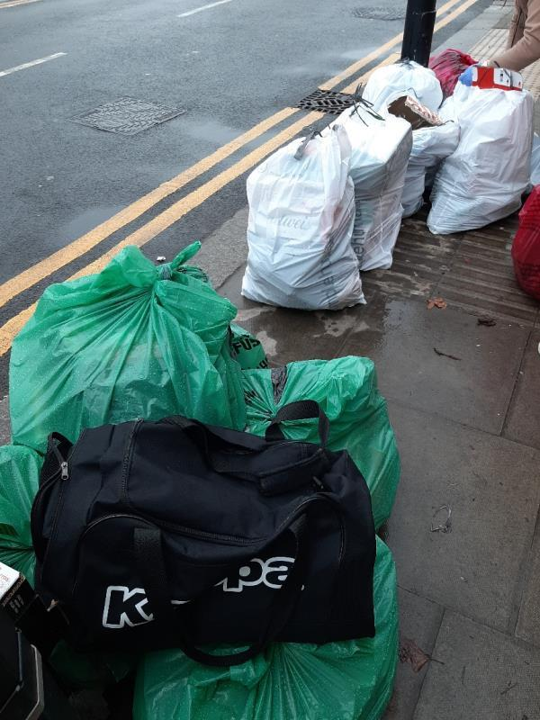 please remove several bags from jct Downhills Park Road N15 & Belmont Road N17.-1 Downhills Way, Tottenham, N17 6AT
