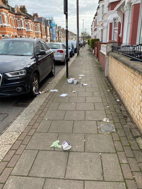 No road sweep yesterday- photo shows some of the litter all over the street. -36 Gaskarth Road, London, SW12 9NL