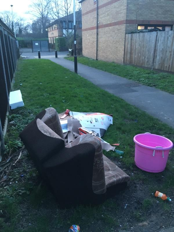 Flytipping, also stinks of urine. The lights out in this alleyway for best part of a year, no wonder -1 Arthur Horsley Walk, London, E7 9BZ