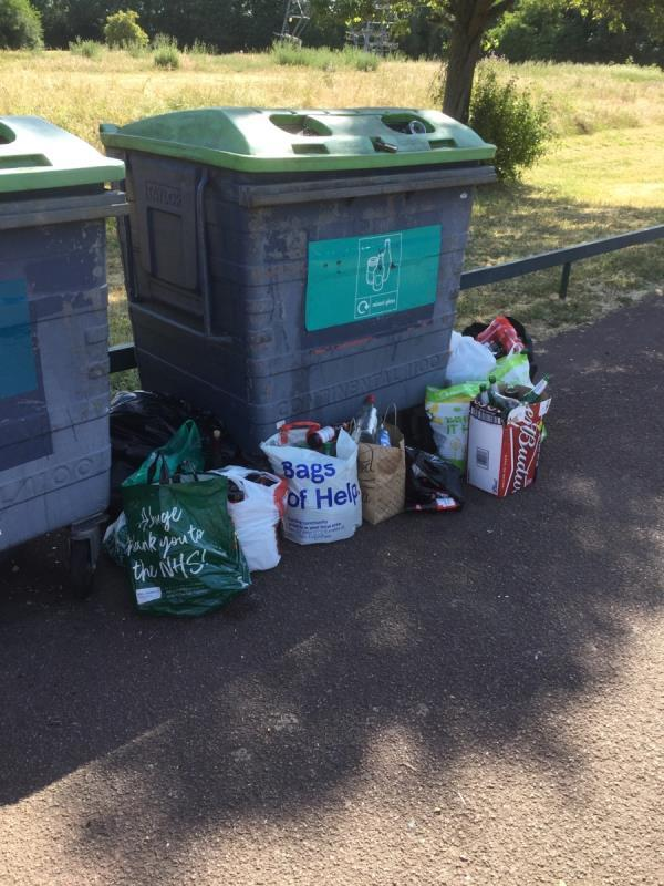 Newham city farm recycling bins. Cardboard and glass bottles  image 1-52 Jade Close, London, E16 3TZ