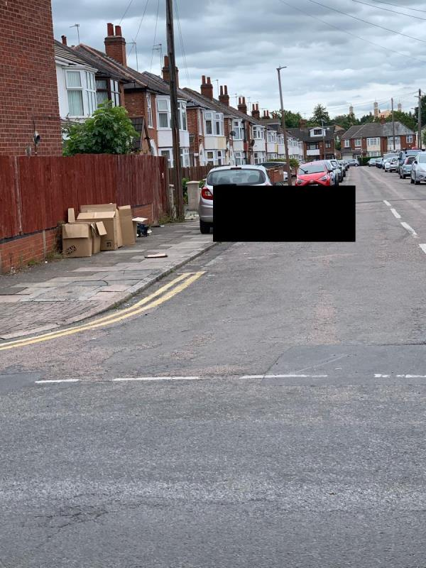 Large boxes and packaging has been dumped on Hazelwood Road corner. -11 Kedleston Road, Leicester, LE5 5HX