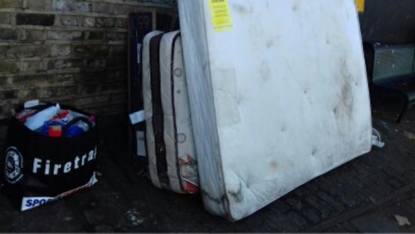 2 mattresses, cardboard boxes, broken toilet bowl and bags of wastes dumped opposite 3 Prince Regent Lane junction with Barking Road -540 Barking Road, London, E13 8QE