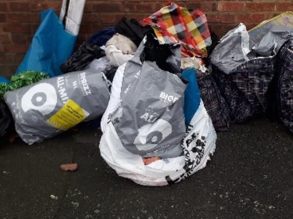 estimated 10 bags of waste deposited at end of Chandler Avenue  E16. Earlier reported on 11.01.2020 image 1-8 Chandler Avenue, London, E16 4AA