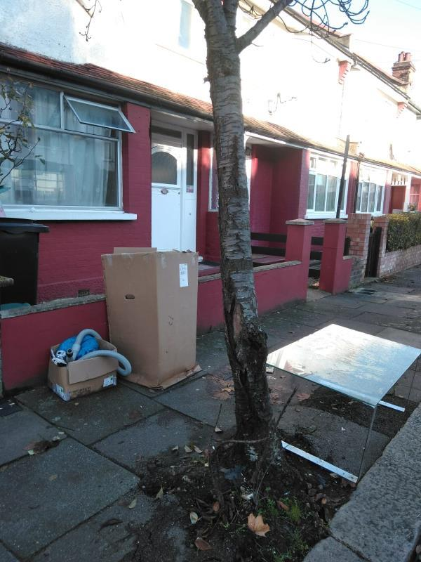 this is rubbish dumped on a regular basis outside 59 higham Road -n17 6nq