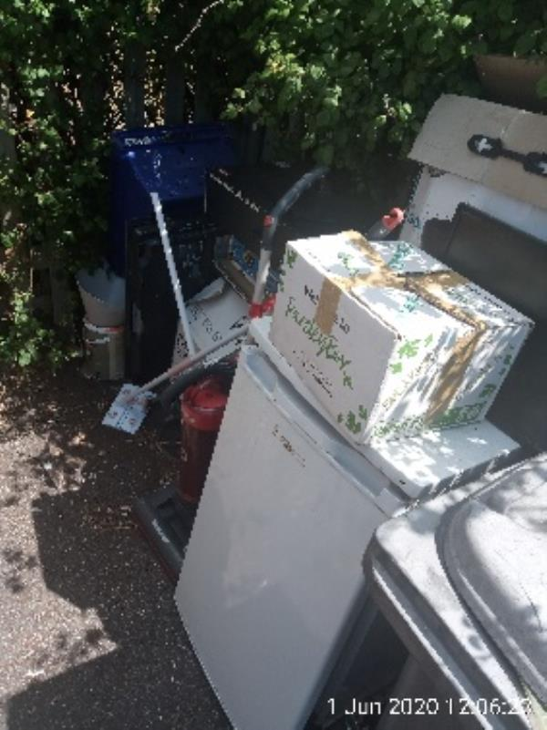 Bin store next to 16-22 hadrians walk west - please clear all the rubbish-213 Basingstoke Road, Reading, RG2 0HX