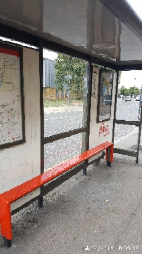 graffiti on bus stop outside No202 White Hart Lane-202 White Hart Ln, London N22 5QN, UK