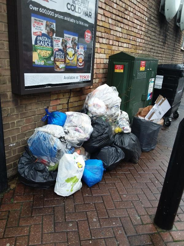 Litter and Bin Bags left at this location-59 West Ham Lane, London, E15 4PH