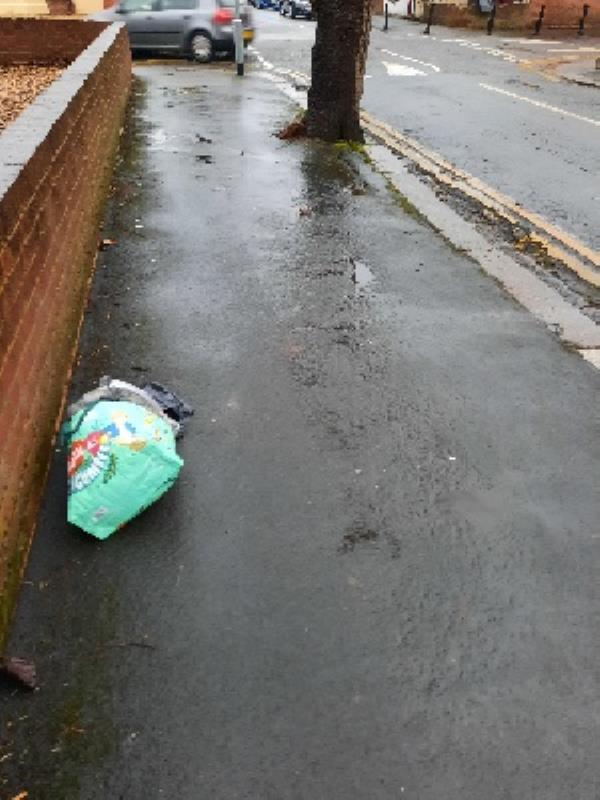 bag of rubbish on pavement -20 Prince of Wales Ave, Reading RG30 2UJ, UK