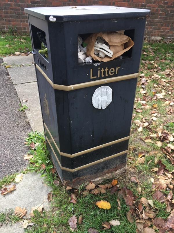 Another over flowing bin?!??!? What is going on? Please advise. As if we don't have a big enough Problem with litter on the Prospect Estate!?!?!-24 Runnymede Court Holywell Close, Farnborough, GU14 8LP