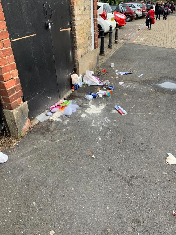 Rubbish on street near primary school entrance-1 St. Lucia Dr, London E15 3HY, UK