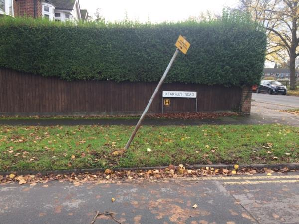 Dangerously Leaning sign-32 Liebenrood Road, Reading, RG30 2EB