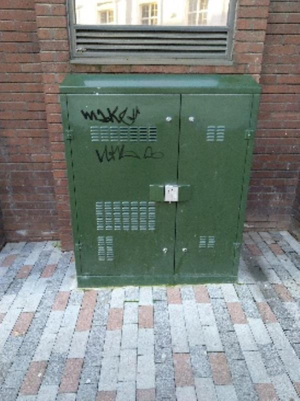 graffiti on electrical box outside phoenix house-9 King St, Leicester LE1 6RN, UK